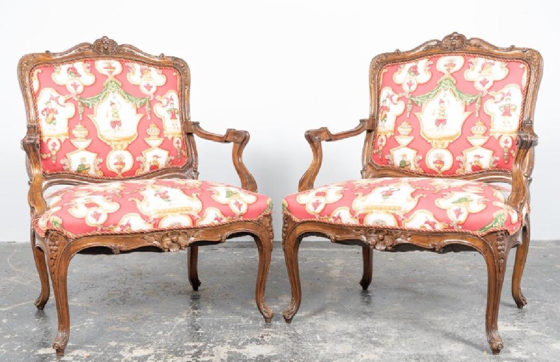 Pr., Louis XV Style Fanciful Upholstered Fauteuils