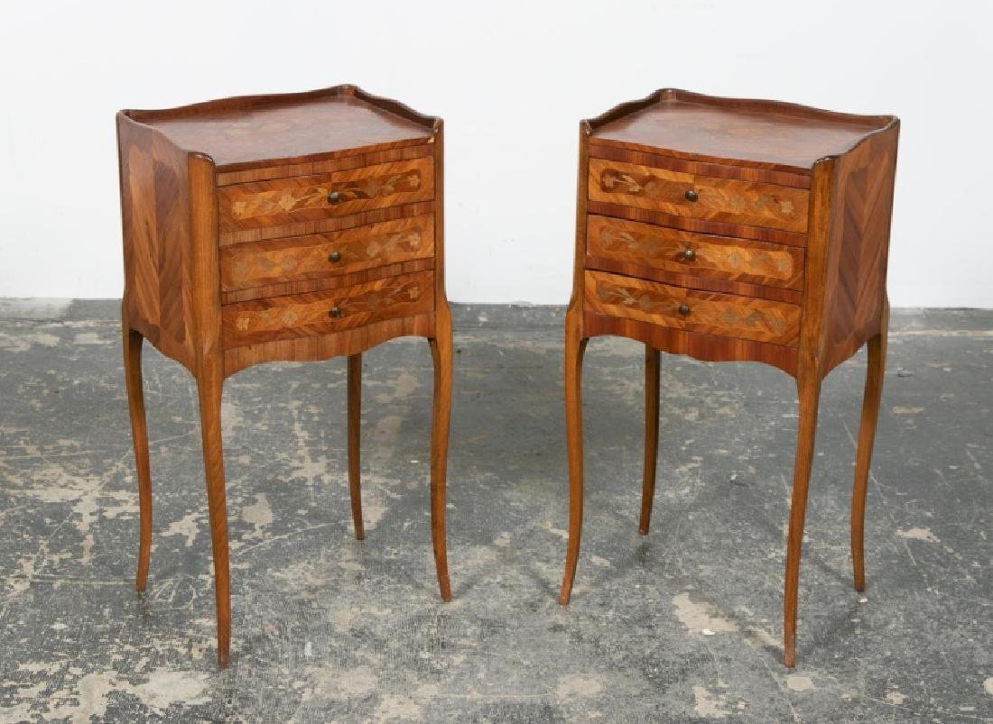 Pair, Louis XV Style Marquetry Inlaid Side Tables