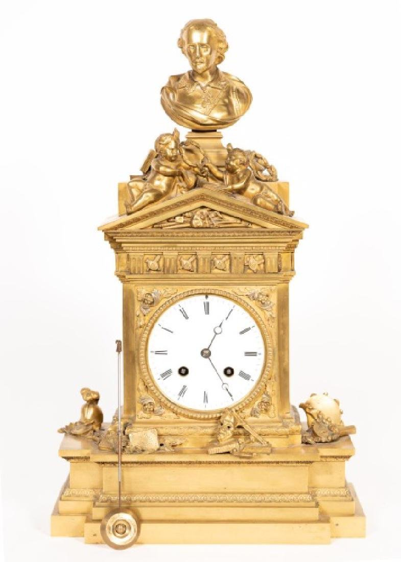 French Bronze Figural Mantle Clock, J.E.D.