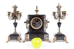 Three Piece French Brass  Marble Mantle Clock Set