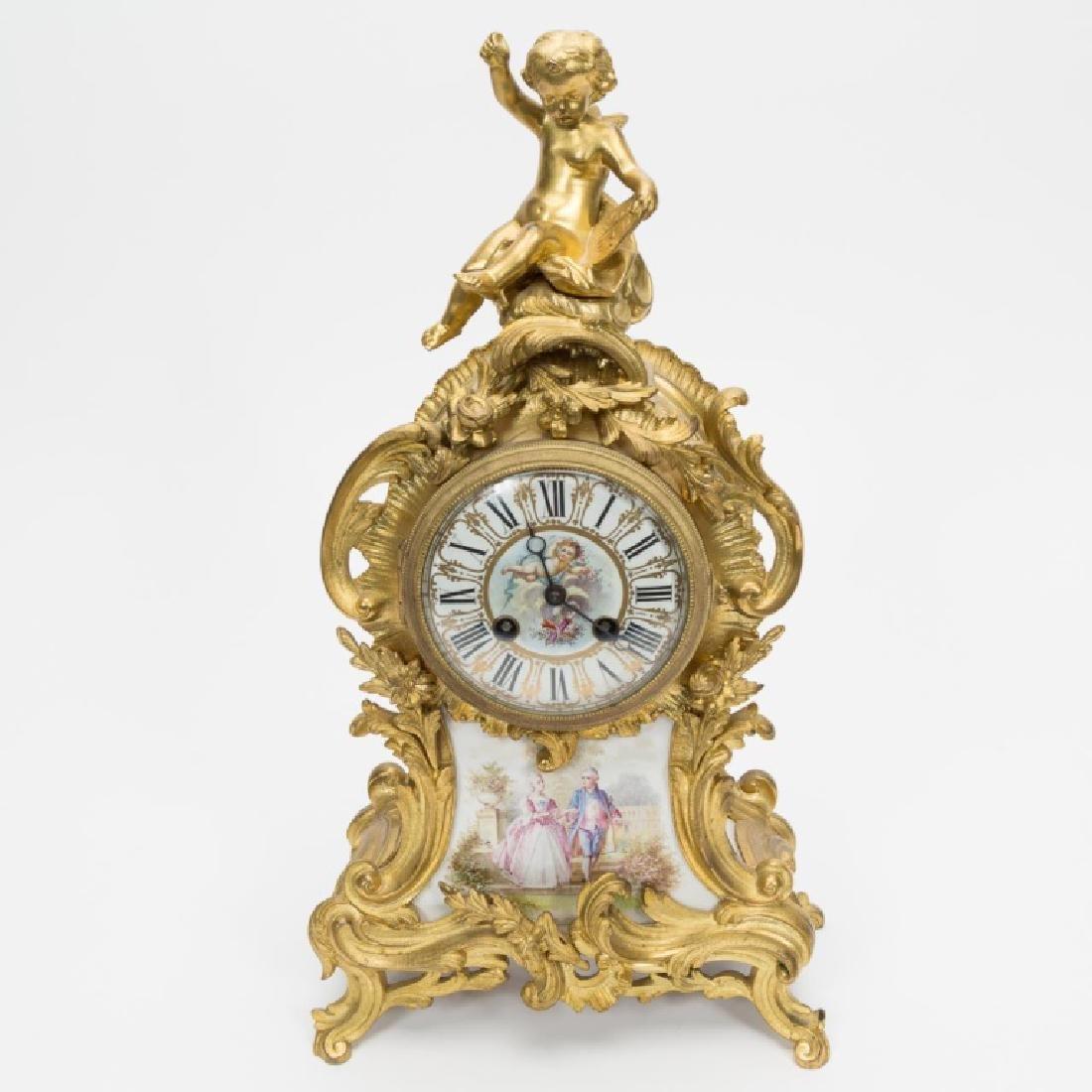 Samuel Marti Bronze and Porcelain Mantle Clock