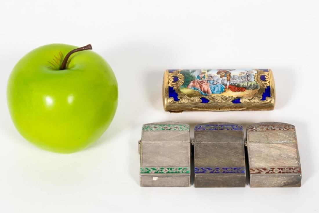 3, Italian 800 Silver Cases & Vermeil Enamel Box