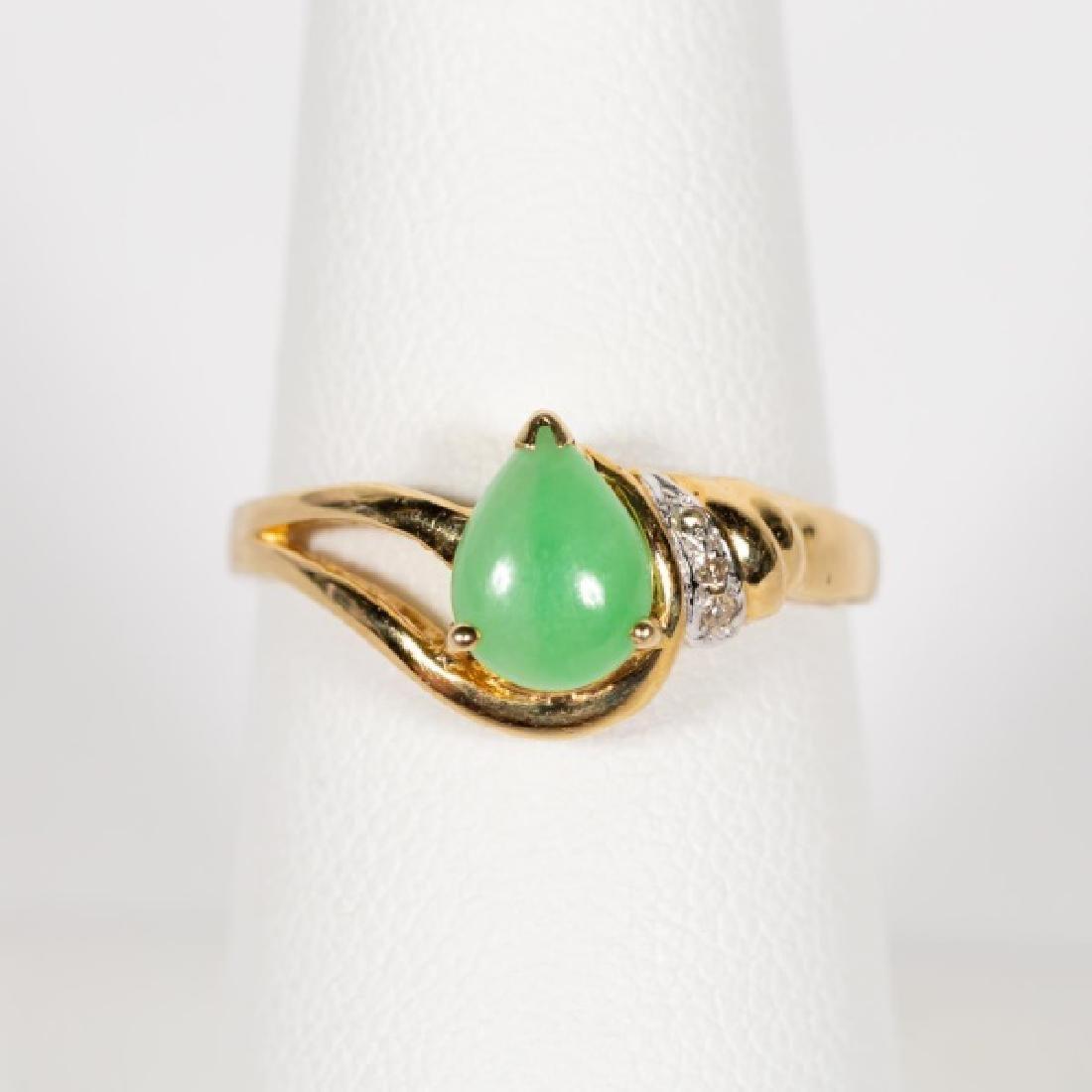 14k Gold, Green Nephrite, & Diamond Ring