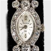 Ladies Bulova 14k WG  Diamond Wrist Watch