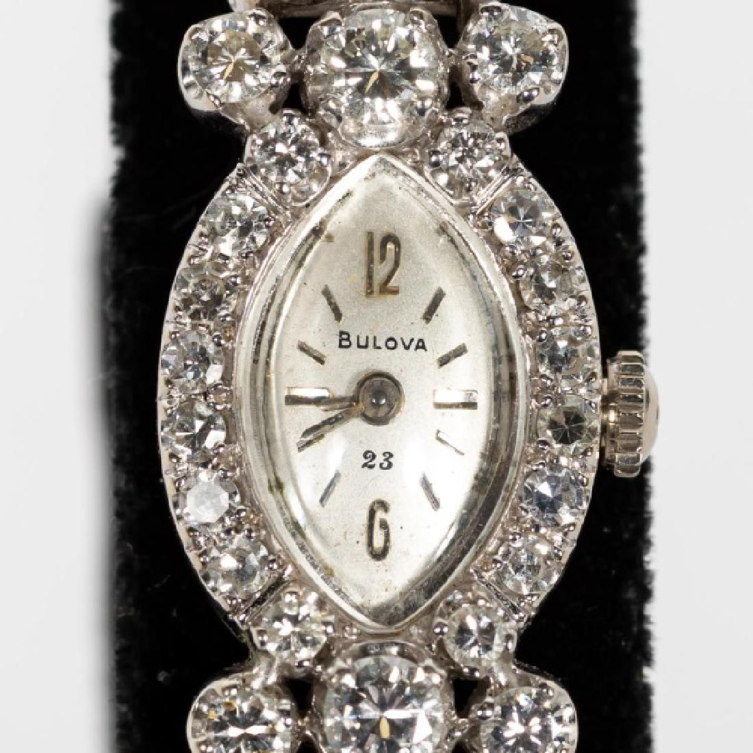 Ladies Bulova 14k WG & Diamond Wrist Watch