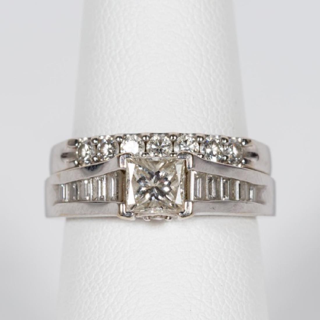 2 14k White Gold & Diamond Rings, Engagement