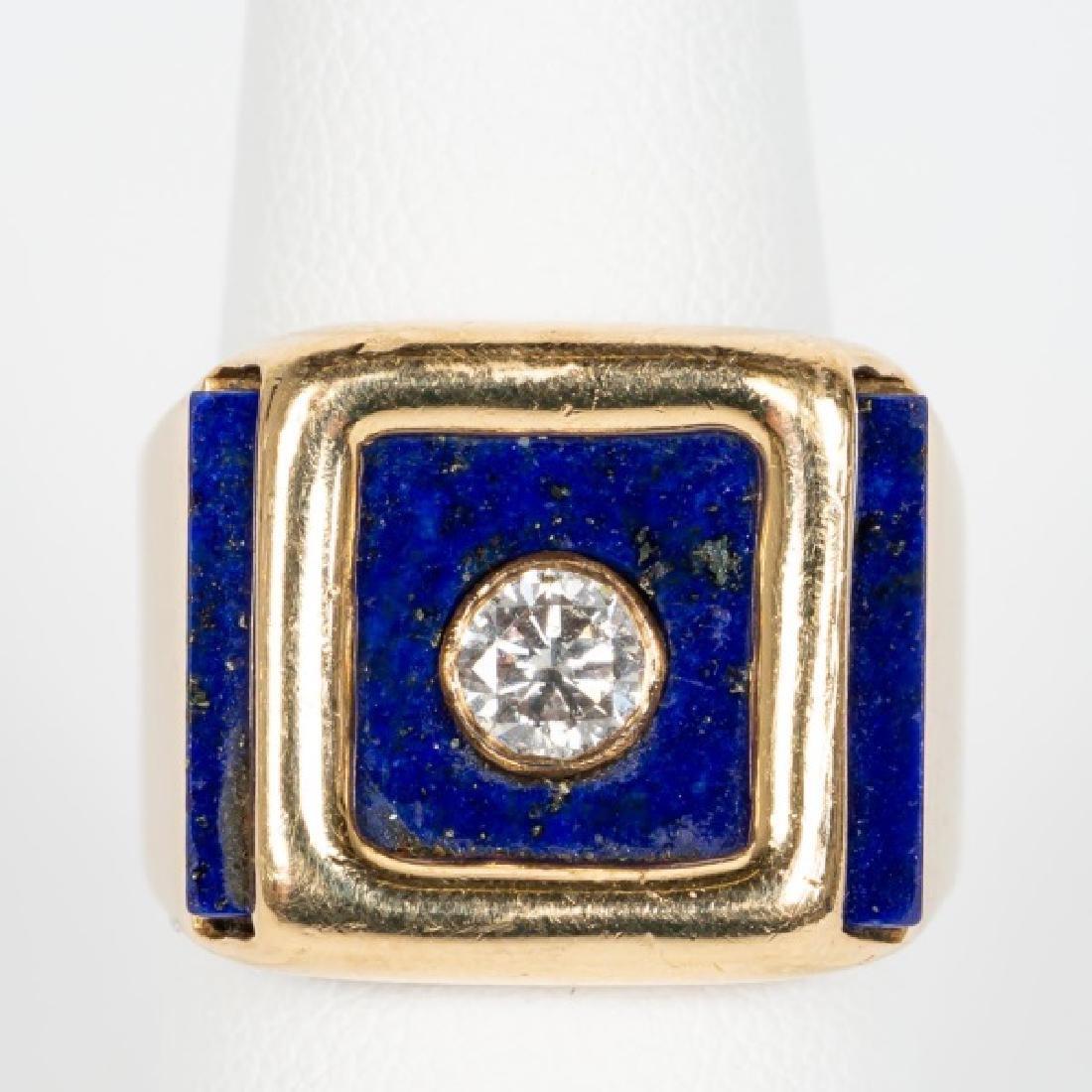 14k Yellow Gold, Lapis Lazuli, & Diamond Ring