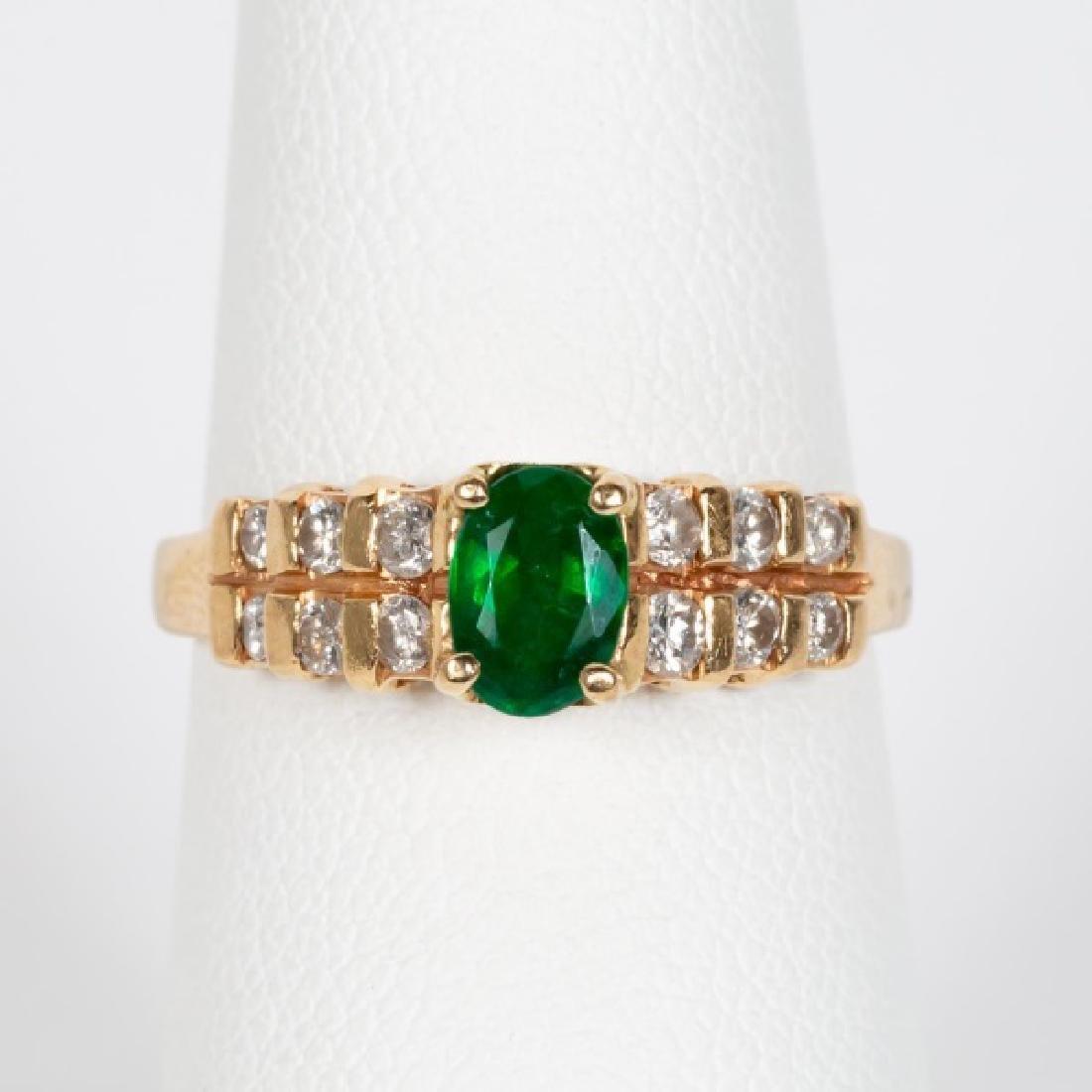 14k Yellow Gold, Emerald, & Diamond Ring