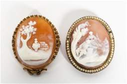 Two Ladys Oval Carved Cameo Brooches Figural