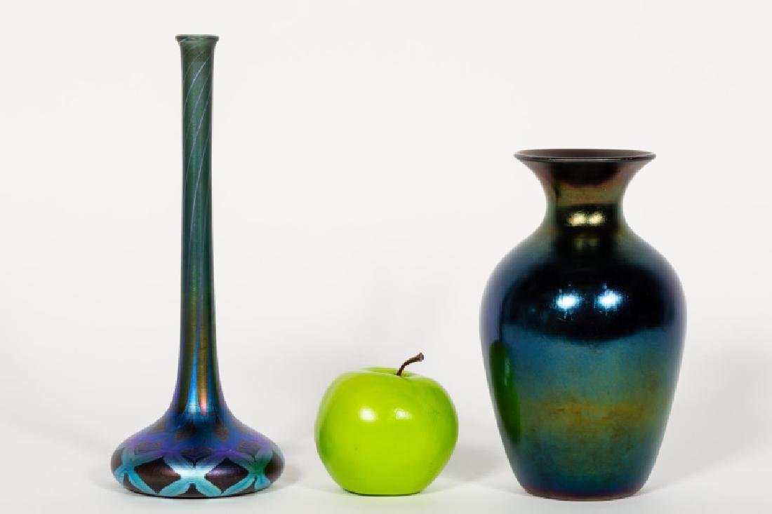 Two Blue Iridescent Hand Blown Glass Vases,