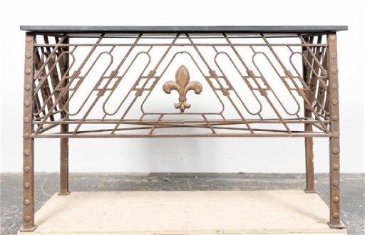 Fantastic Pair Iron Slate Top Fleur De Lis Console Tables Beatyapartments Chair Design Images Beatyapartmentscom