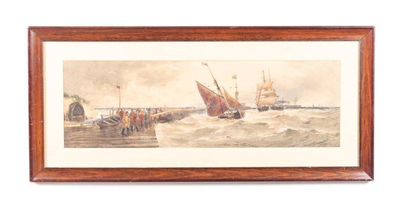 Thomas Bush Hardy, Watercolor, Harbor Scene