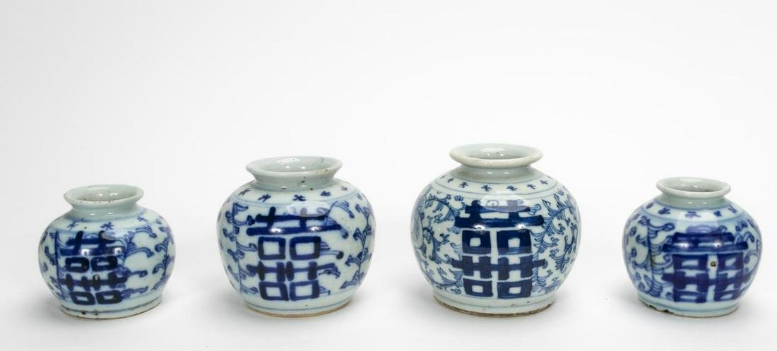 Four Chinese Export Blue & White Vases, Two Pairs