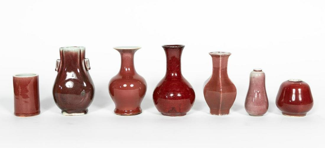 Group of Seven Chinese Oxblood Vases