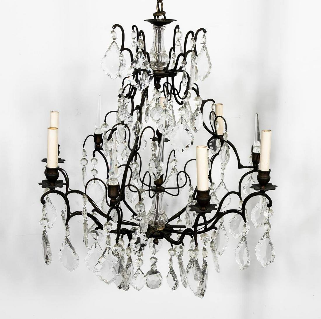 Louis XV Style Six-Light Crystal Chandelier