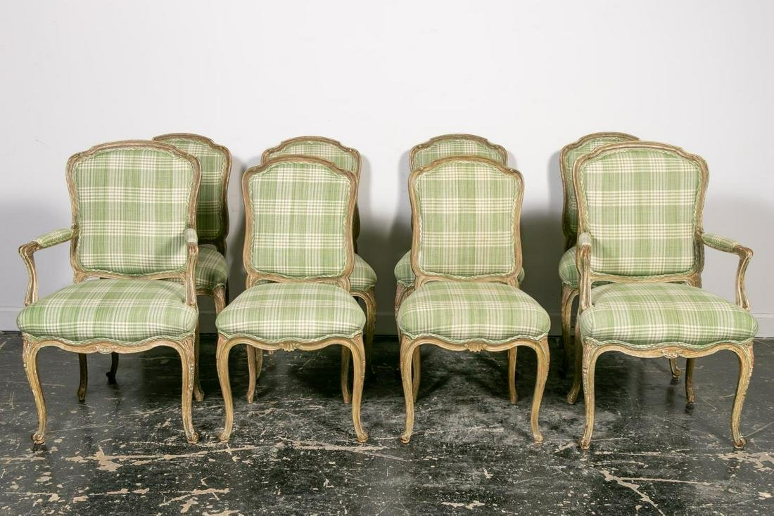 Set, 8 Louis XV Style Upholstered Dining Chairs