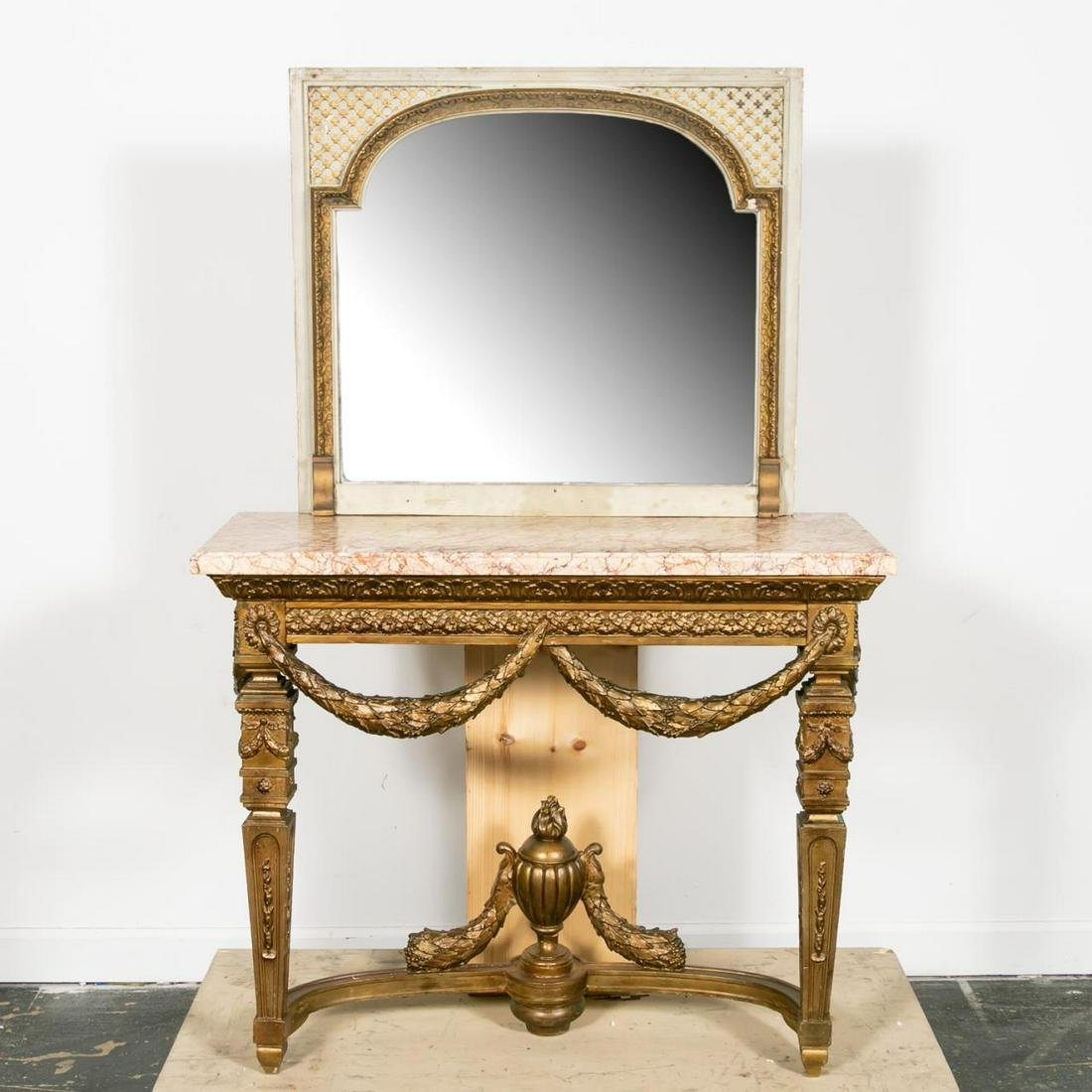 Louis XIV Style Marble Top Pier Table and Mirror