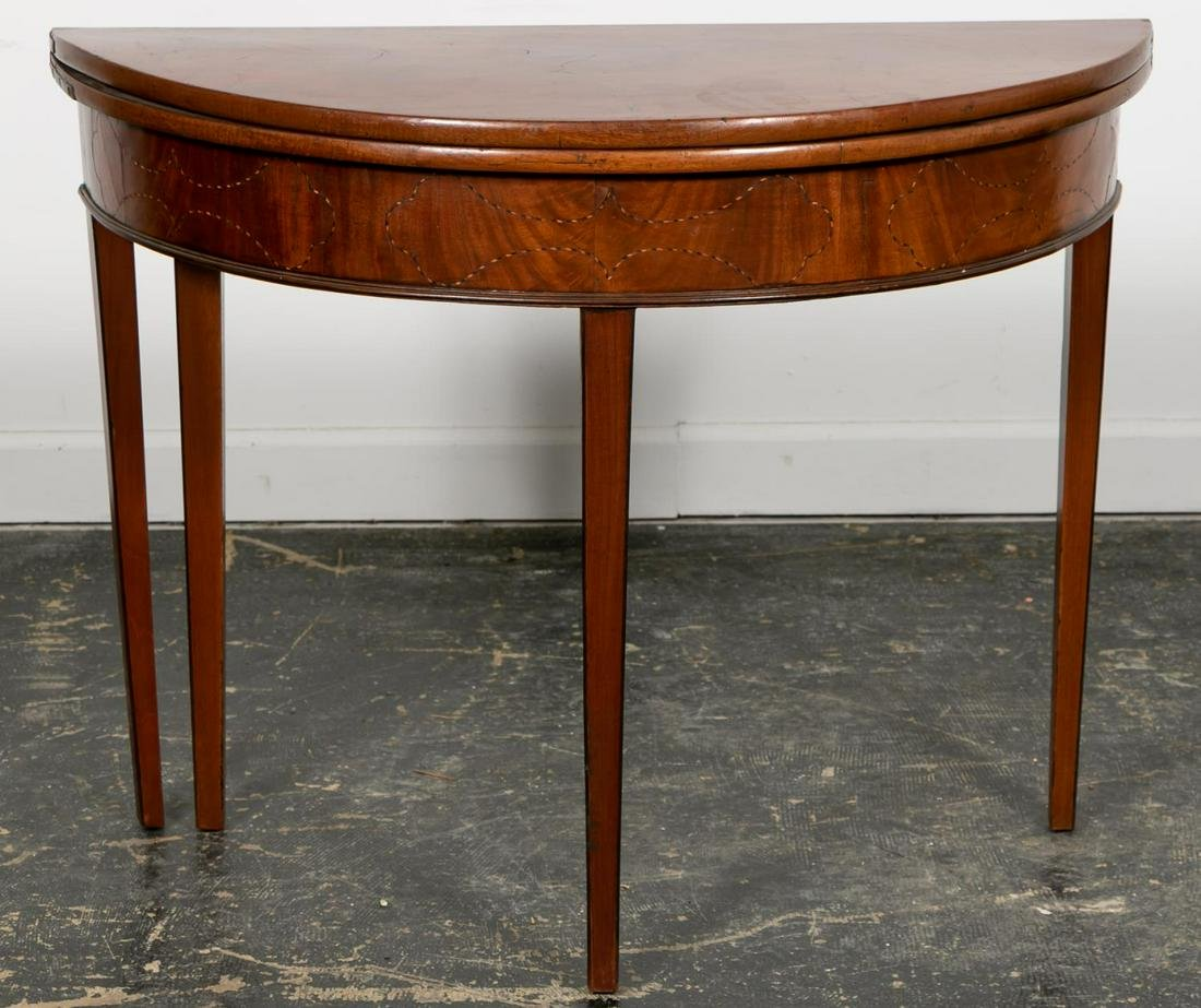 19th C. American Federal Demilune Card Table