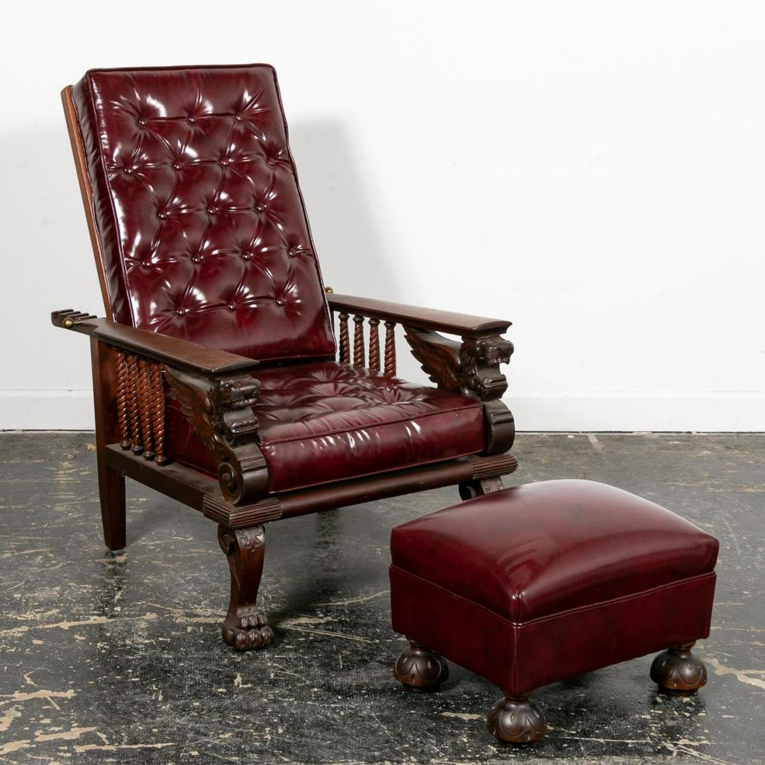 Horner Style Leather Morris Chair and Foot Stool