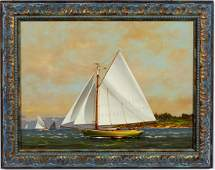 Vernon George Broe Coming On Strong Sailboat Oil