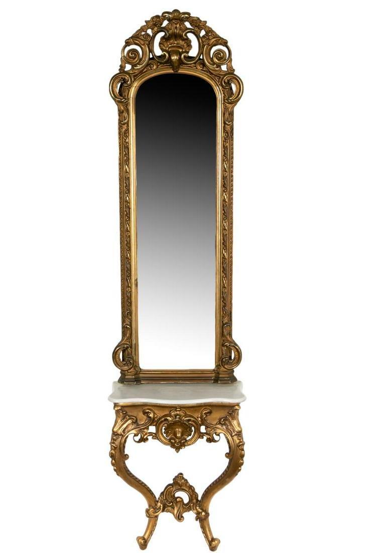 Rococo Revival Pier Mirror and Marble Top Table