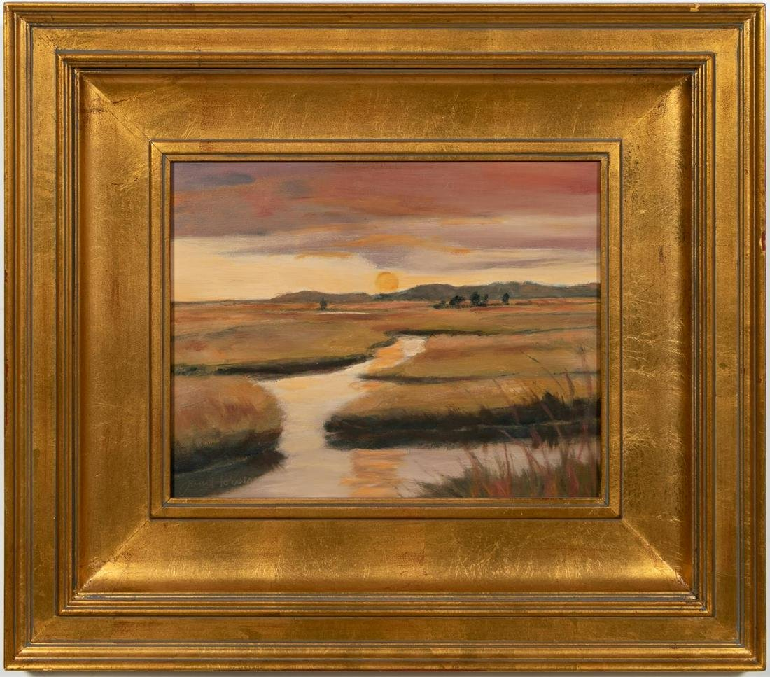 "Janet Powers ""Sun Rise Marsh"" Oil On Canvas"