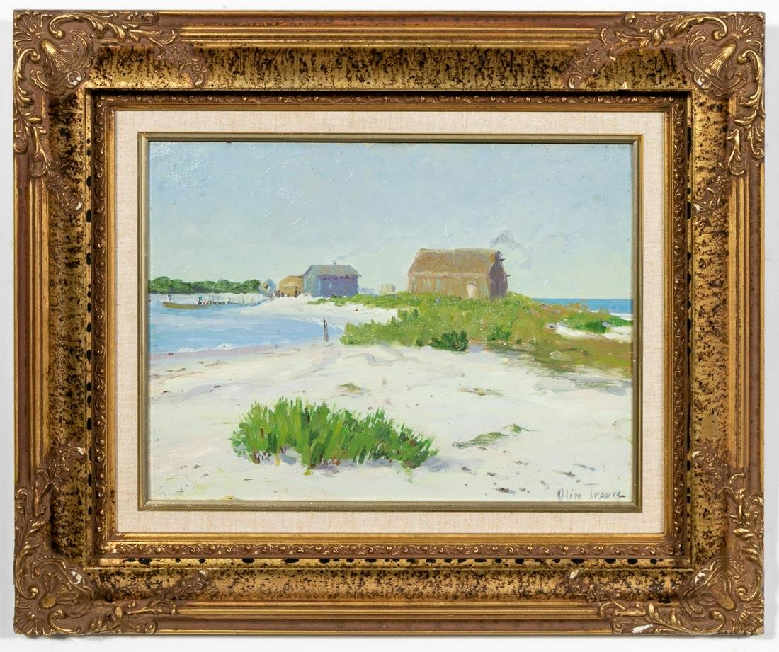 "Olin Travis, ""Fish House"" Landscape Oil, 1914"