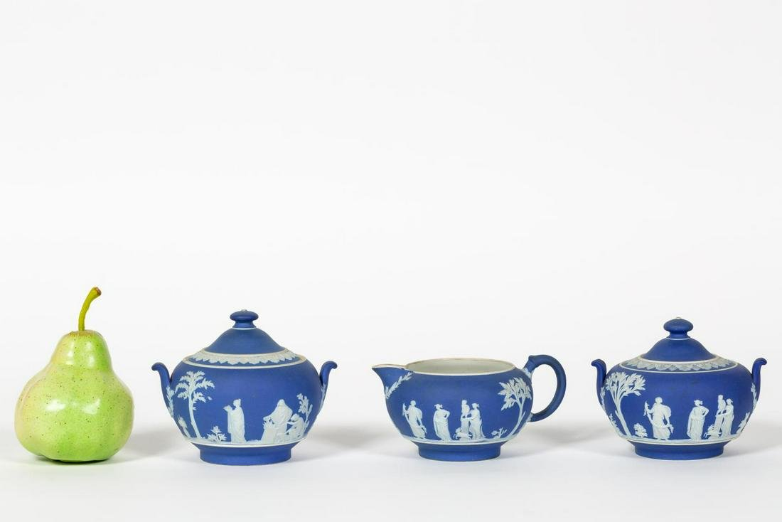 Three PCS. of Wedgwood Blue Jasper Dip Teaware