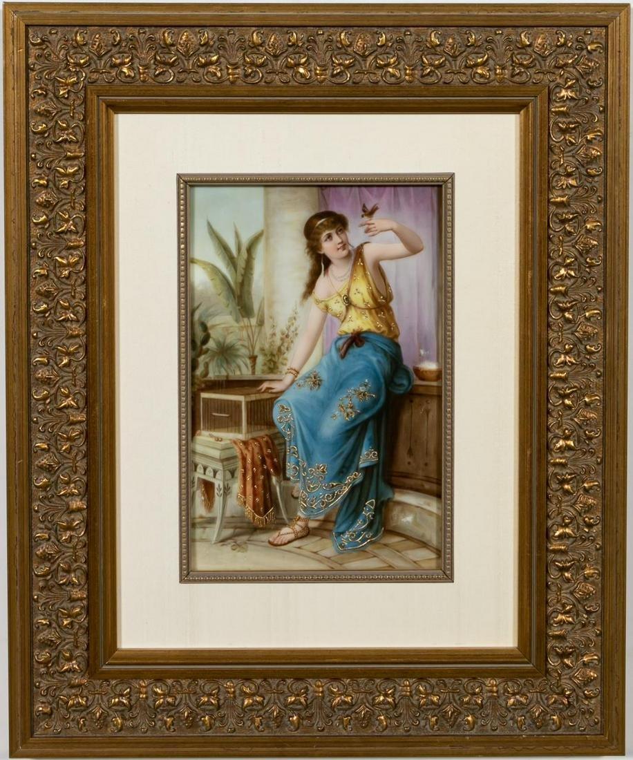 "Framed KPM Plaque, ""Darling,"" Woman with Bird"