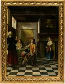 After Pieter de Hooch, Woman Drinking With Two Men