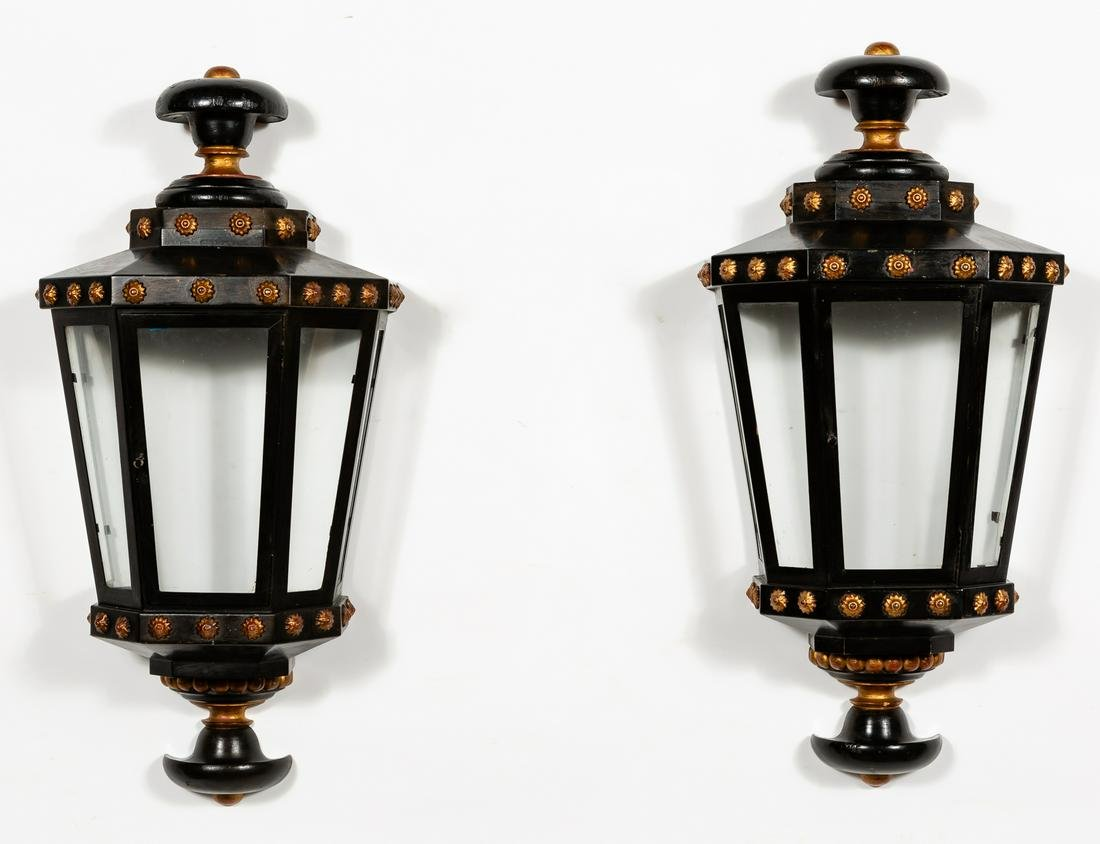 Pair of Painted Tole and Wood Wall Lanterns