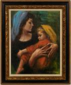 Sandu Lieberman Mother  Child Oil on Canvas