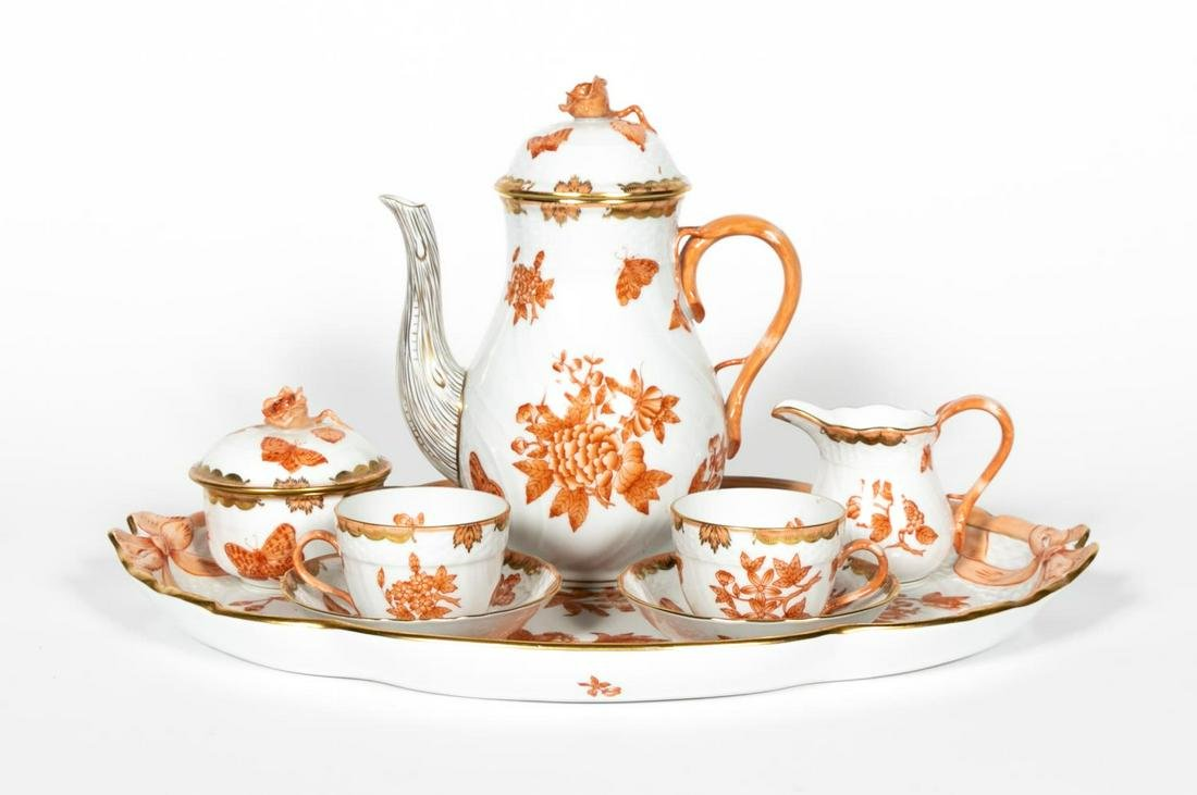 8 PC., Herend 'Chinese Bouquet Rust' Tea Service