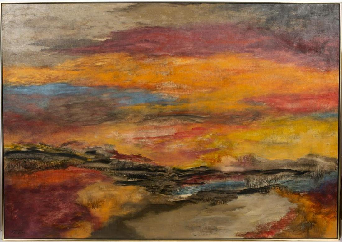 """Georgia Houston, """"Sunset"""" Abstract Modern Oil"""