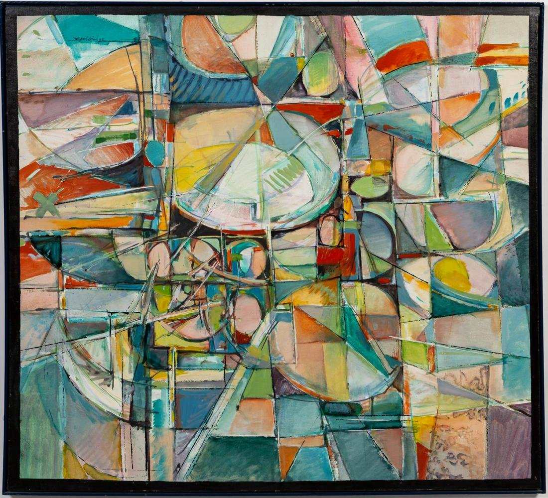 American School, Colorful Futuristic Abstract Oil