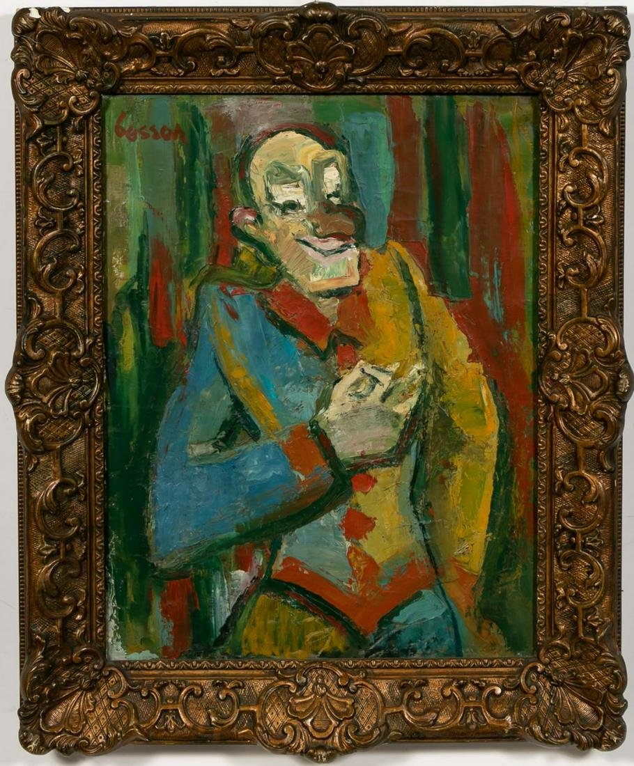 """French School, Mid Century """"Colorful Clown"""" Oil"""