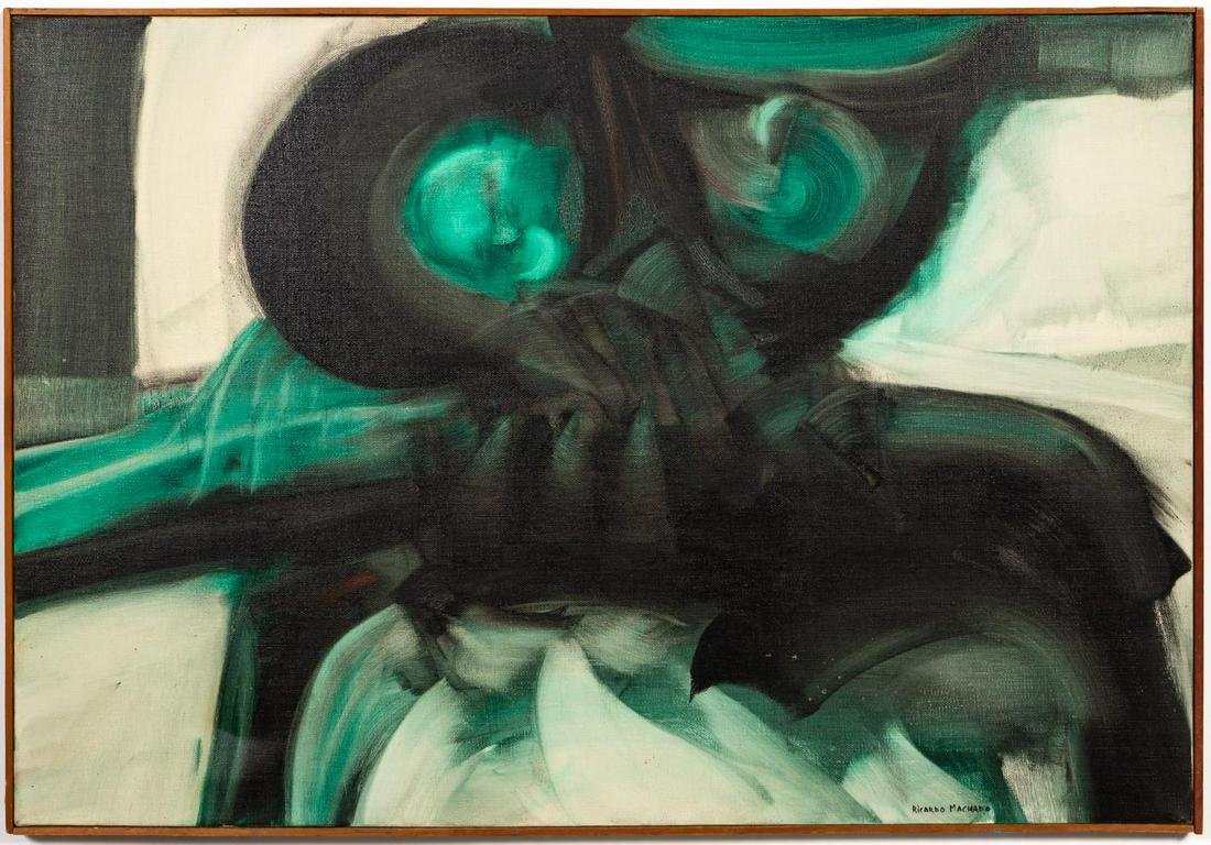 "Ricardo Machado, ""Buho"" Green Abstracted Owl Oil"
