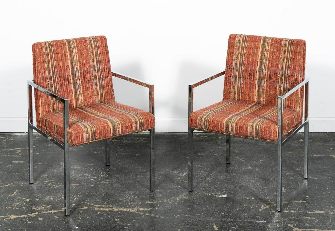 Pair of Mid Century Modern Chrome Armchairs