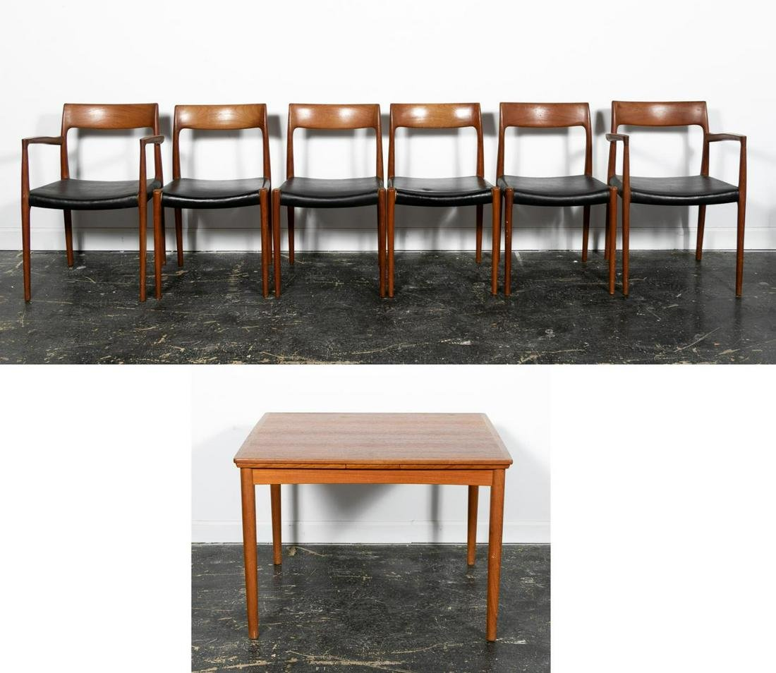 7 PC. Set Danish Modern Dining Table and Chairs