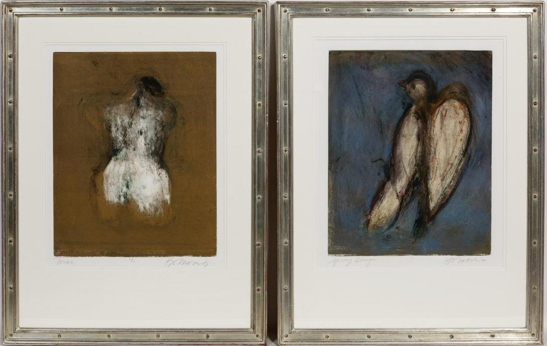Kathleen Morris, Two Monotypes Bird and Figural