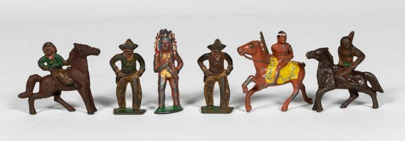 "6 Pc, Pre-War Dimestore ""Cowboys & Indians"""