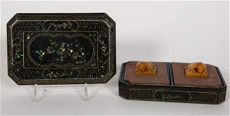 Two, Shoushan Tianhuang Seals in MOP Inlaid Box