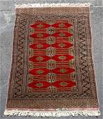 Handwoven Bokhara Rug Black  Red