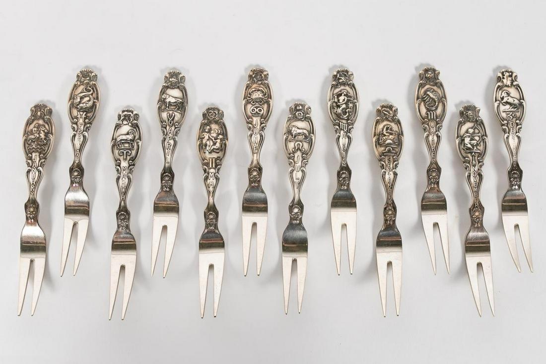 "Twelve Gorham Sterling Silver ""Zodiac"" Berry Forks"