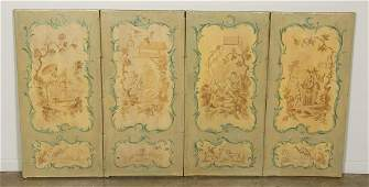 19th C French Chinoiserie Four Panel Screen