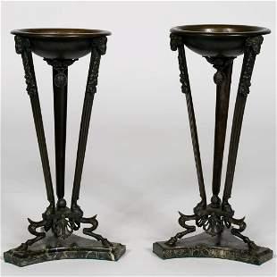Pr.,  Late 19th C. Grand Tour Bronze Censors