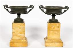 Pair Charles X Style Bronze  Marble Urn Tazzas