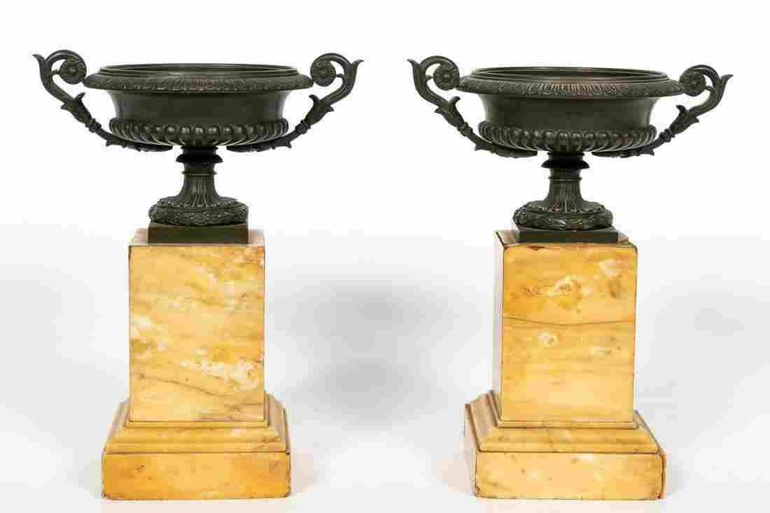 Pair, Charles X Style Bronze & Marble Urn Tazzas