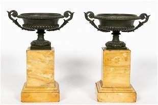 Pair, Charles X Style Bronze & Marble Urn Tazzas