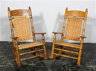 Pair, Brumby Chair Co. Jumbo Oak Rocking Chairs